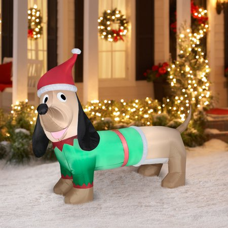 Airblown inflatable 5 39 dachshund christmas prop for Airblown christmas decoration
