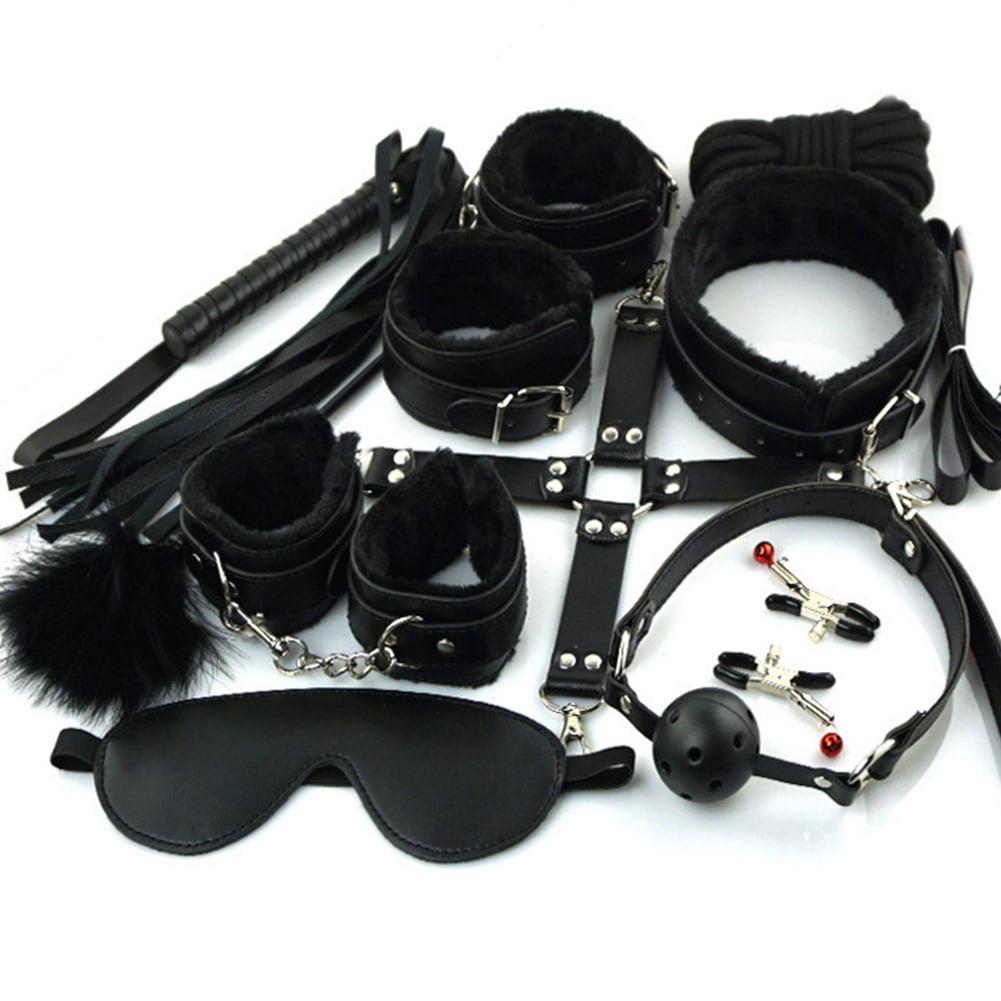 Girl12Queen 10Pcs Bondage Restraint Kit BDSM Cuffs Collar Mouth Ball Breathe Couple Sex Toy