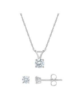 1/2 Carat T.W. Diamond Stud Earring & Pendant Set in 14Kt White Gold by Arista
