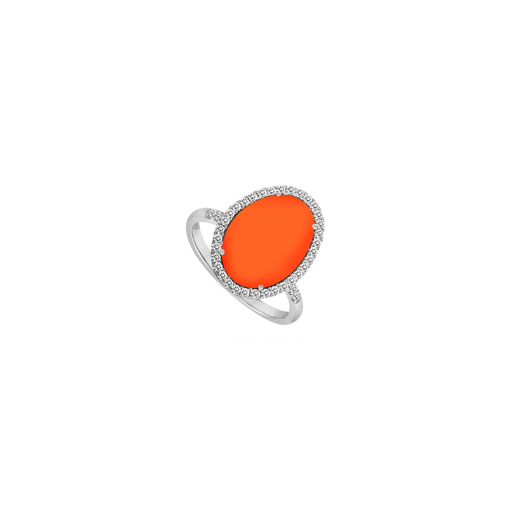 Sterling Silver Orange Chalcedony and Cubic Zirconia Ring 16.00 CT TGW by Love Bright