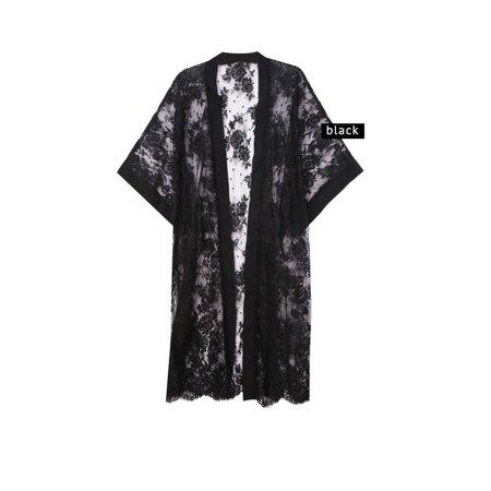 Mesh Kimono - Womens Sheer Floral Rose Lace Mesh Kimono Cardigan Nightwear SBK-2185-Black
