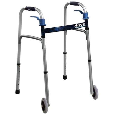 2 Pack - Drive Medical Trigger Release Folding Walker, Brushed Steel, 1 ea