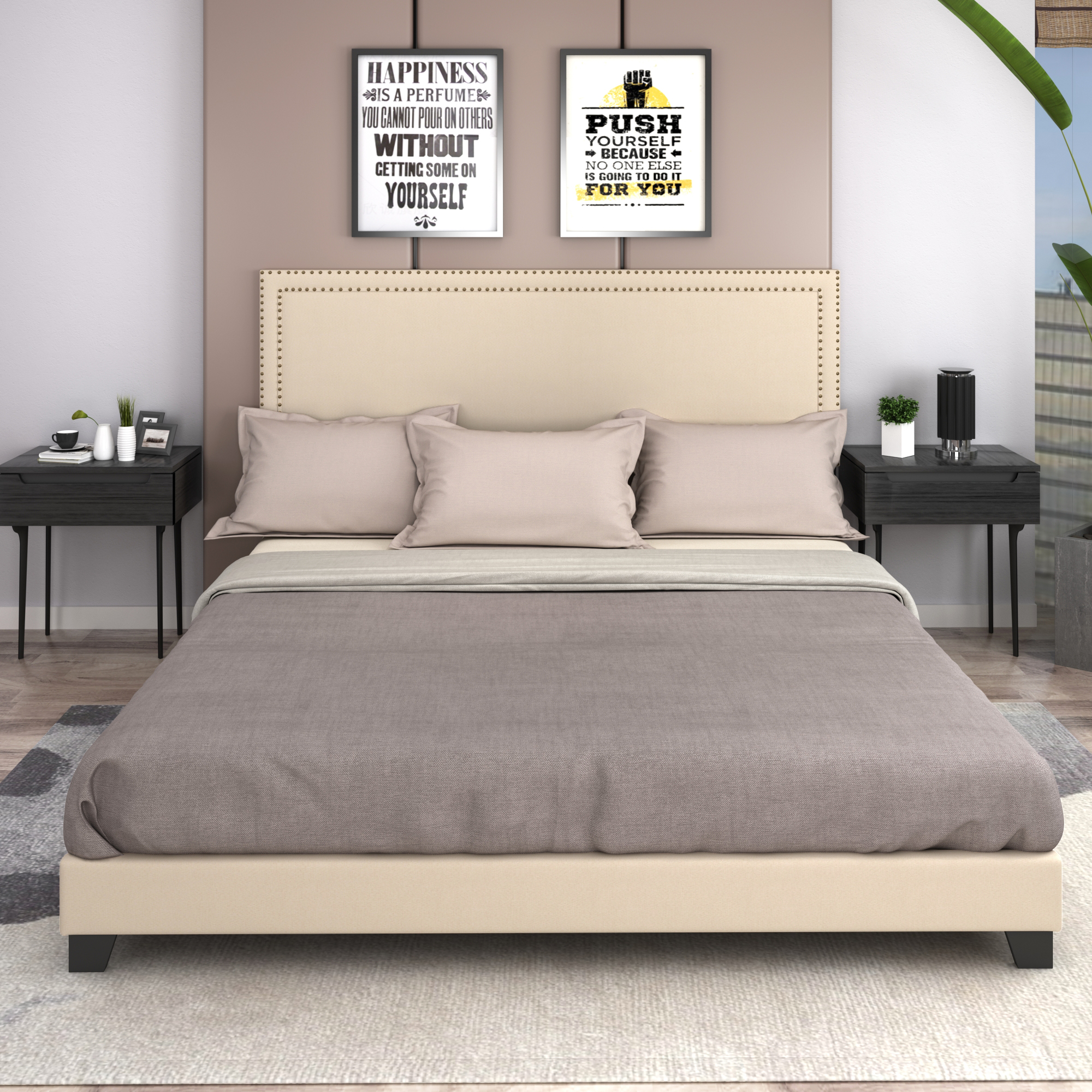 King Platform Bed Frame Urhomepro Modern Upholstered Platform Bed With Headboard Beige Heavy Duty Bed Frame With Wood Slat Support For Adults Teens Children Box Spring Required I7688 Walmart Com Walmart Com