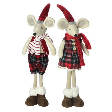 set of 2 plush red plaid standing christmas mice decorations - Christmas Mouse Decorations