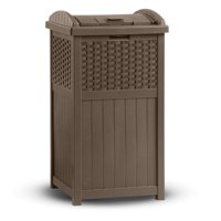 Suncast 33 Gallon Hideaway Trash Can for Patio - Brown