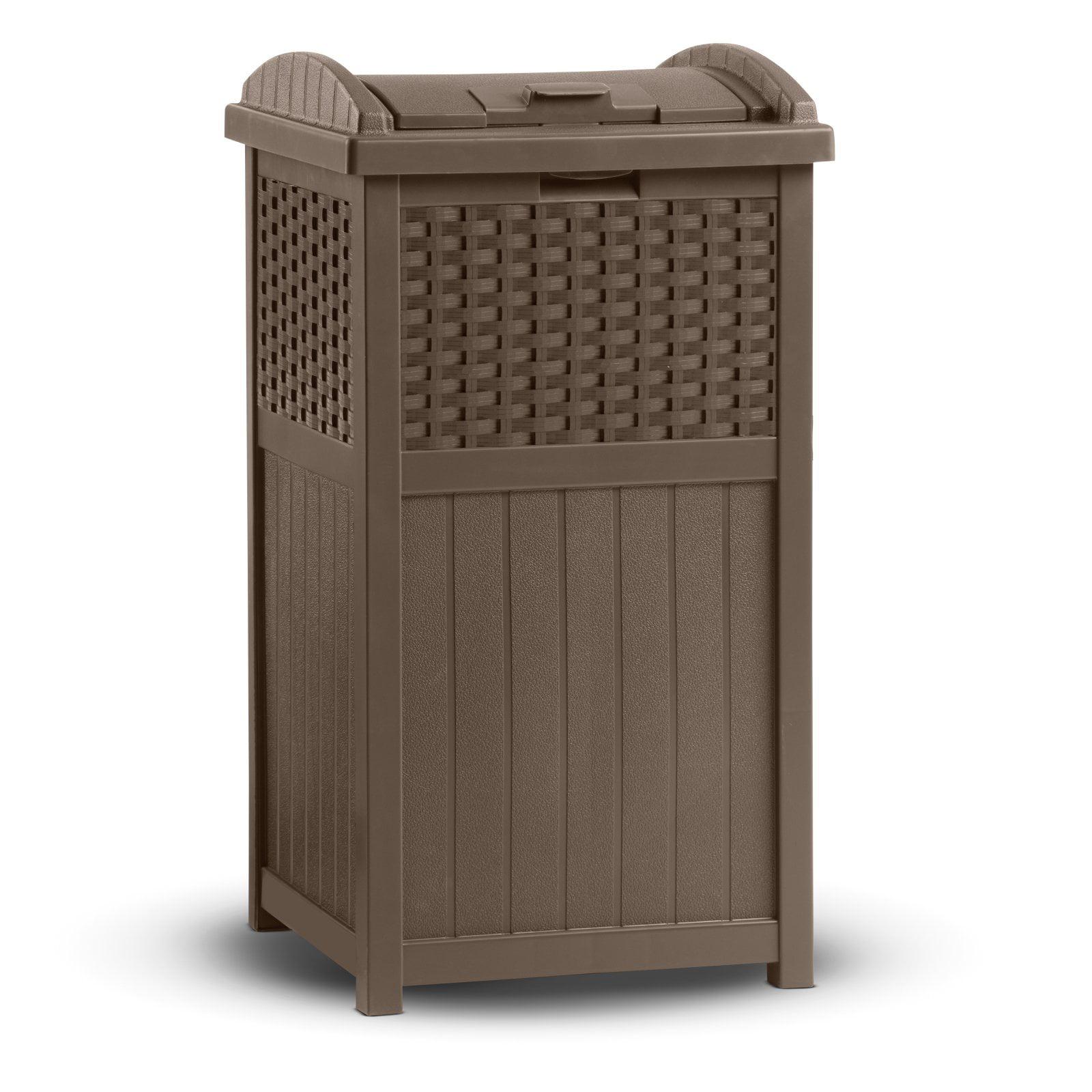 Suncast Outdoor Wicker Trash Hideaway