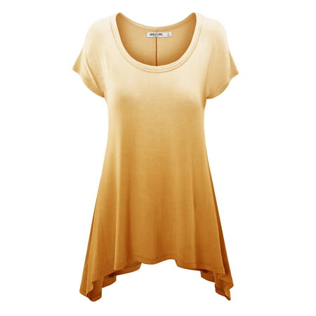 Ombre Striped Shirt (MBJ WT1136 Womens Round Neck short Sleeve Asymmetrical Hen Ombre Tunic Tee L YELLOW )