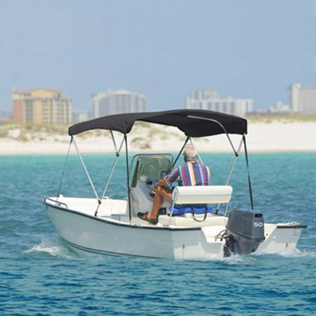 3 bow 6 foot bimini boat cover top 67 72 gray pontoon for Best fishing pontoon boat