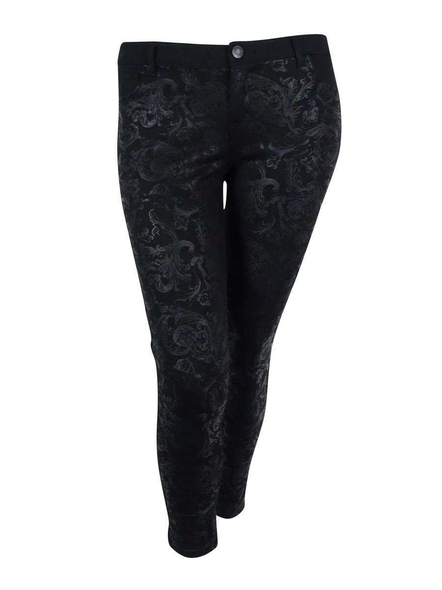 Celebrity Pink Juniors' Paisley Print  Skinny Ponte Pants (13/31, Black)