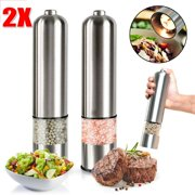 NEW ARRIVAL 2 packs Electric Salt and Pepper Grinder Set - Automatic, Refillable, Battery Operated Stainless Steel Spice Mills with Light - One Handed Push Button Peppercorn