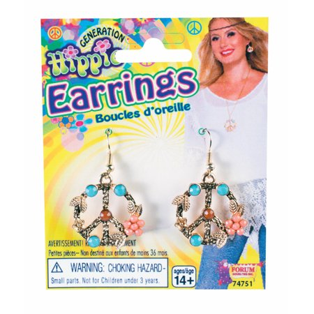 Hippie Peace Sign Earrings F74751 - Hippie Earrings