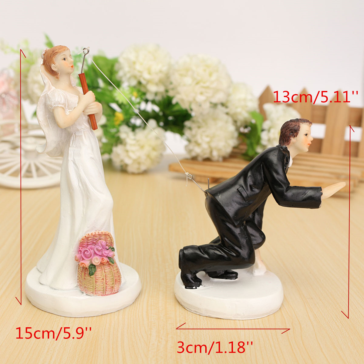 Wedding Cake Toppers - Fishing Bride and Groom Couple, Cake ...