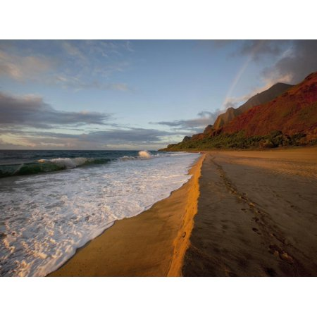 Sunset, Rainbow, Kalalau Beach, Napali Coast, Kauai, Hawaii, Usa Print Wall Art By Douglas (Best Way To See Napali Coast)