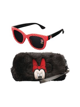 Minnie Mouse Fuzzy Case and Kid's Sunglasses Set