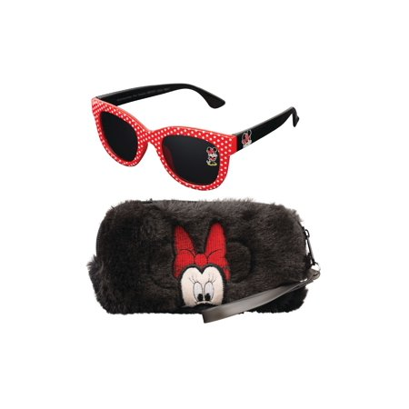 Minnie Mouse Fuzzy Case and Kid's Sunglasses Set - Minnie Mouse Sunglasses