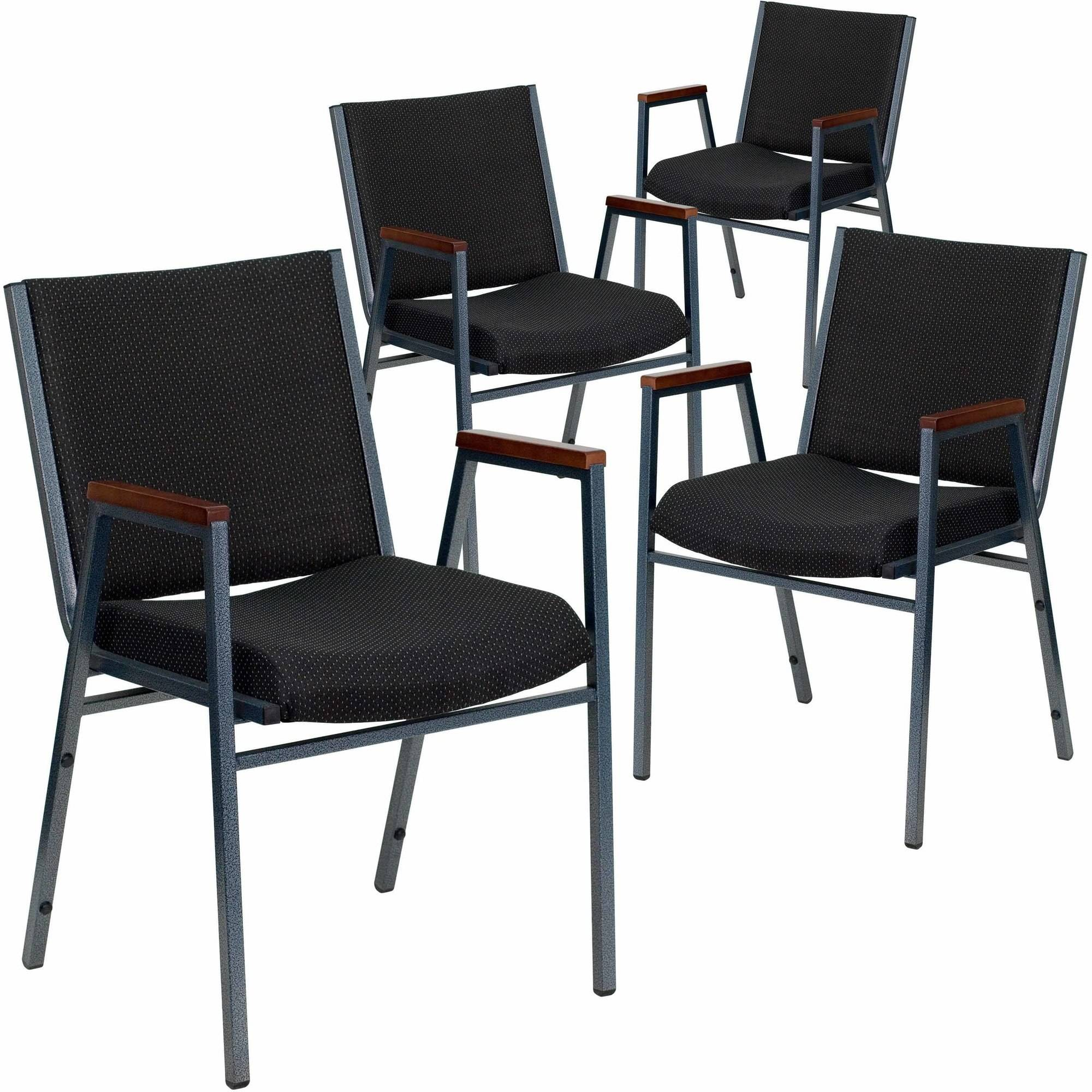"""Flash Furniture 4-Pack HERCULES Series Heavy Duty, 3"""" Thickly Padded, Patterned Upholstered Stack Chair with Arms, Multiple Colors"""