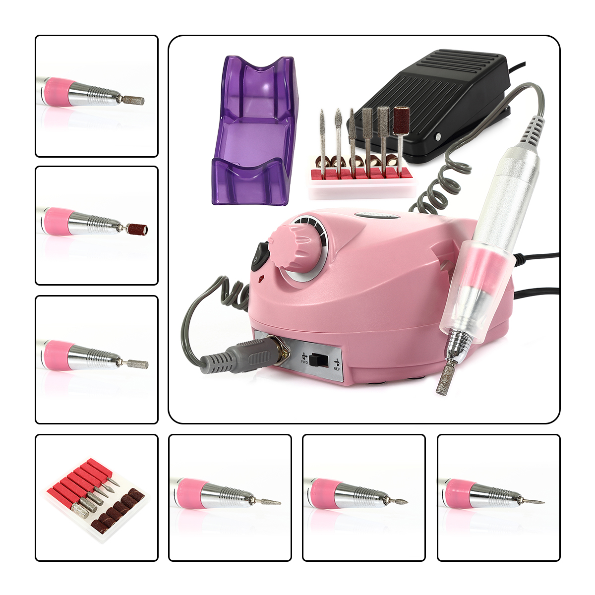 CoastaCloud Professional 110V 30,000RPM Nail Drill Manicure Pedicure File Machine Salon Kits with Pedal Electric Acrylic Polish Nail Art Drill Pink