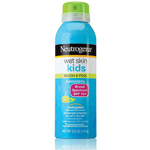 Neutrogena Wet Skin Kids Sunscreen Spray Broad Spectrum SPF 70+, 5 oz