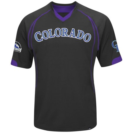 "Colorado Rockies Majestic MLB ""Lead Hitter"" V-Neck Mens Fashion Jersey Black by"