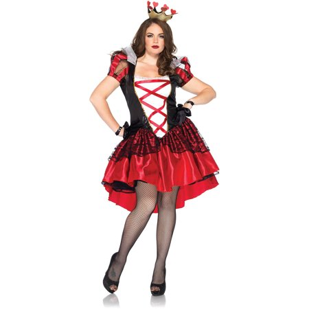 Plus Size Royal Red Queen Adult Halloween Costume - Plus Size Corset Halloween Costumes