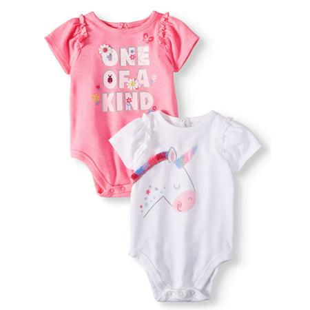 Garanimals Baby Girls' Ruffle Sleeve Graphic Bodysuits, 2-Piece Multi-Pack - Pleather Bodysuit