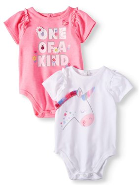6a2b311b5b Product Image Garanimals Baby Girls' Ruffle Sleeve Graphic Bodysuits,  2-Piece Multi-Pack