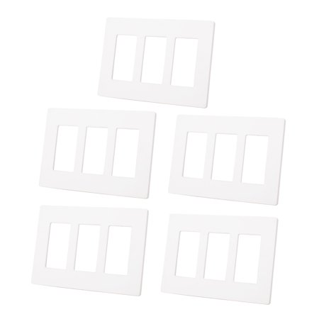 5Pcs/set 3 Gang White Screwless Decorator GFCI Outlet Wall Plate Rocker Switch Cover Protector