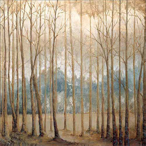 Neutral Birch Tree Forest Landscape Painting Tan & Blue Canvas Art by Pied Piper Creative