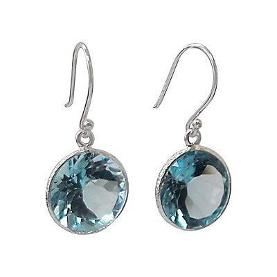 Round Blue Topaz Sterling Silver Dangle Earrings (12 Carat)
