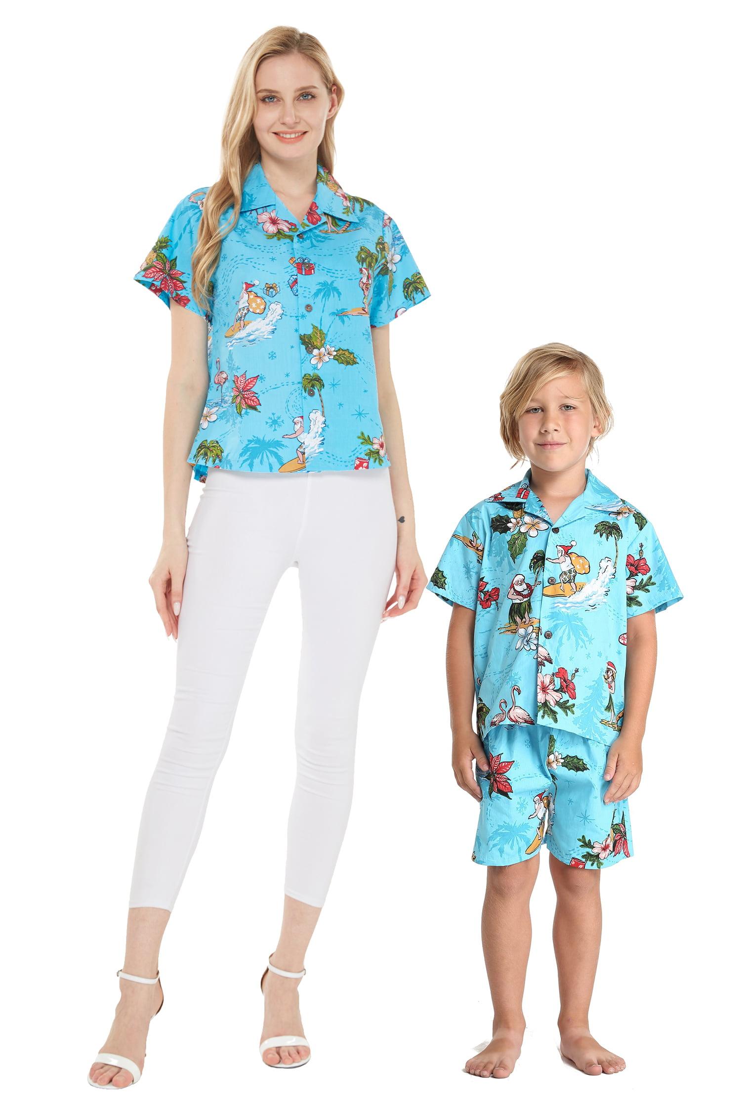 Matching Mother Son Hawaiian Luau Women Aloha Shirt Boy Shirt Shorts