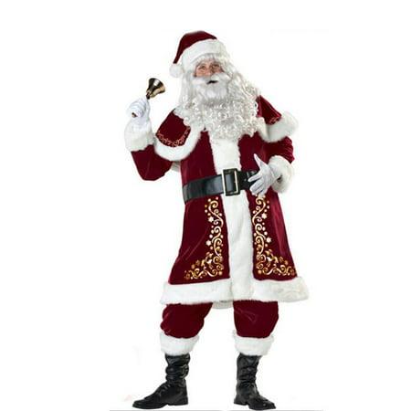 Best Santa Costume (Deluxe Regal Plush Santa Clause Costume Suit Father Christmas Fancy)