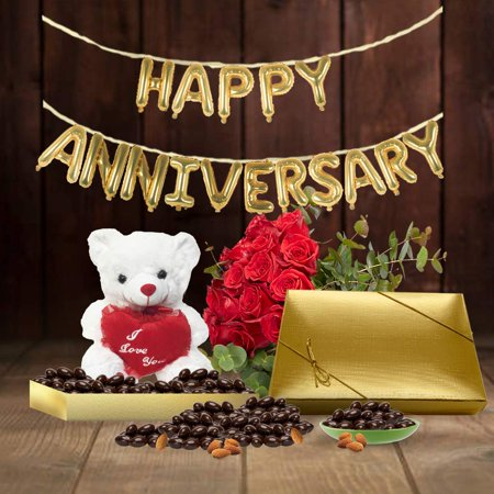 6th Anniversary Gift Basket, Plush Teddy Bear & Premium California Vegan Chocolate Coated Almonds 1 lbs, Personalized Handwritten Anniversary Card