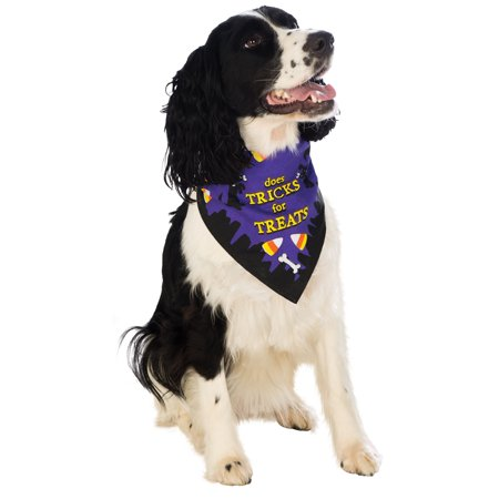 Trick Or Treat Pet Dog Cat Purple Halloween Bandana Collar-M-L - Halloween Food Treats