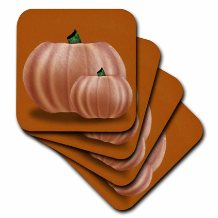 3dRose Graphic Design of Pumpkins on Vintage fall colored background, Soft Coasters, set of 8
