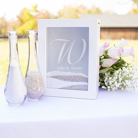 Personalized White Or Black Unity Sand Ceremony Shadow Box Set