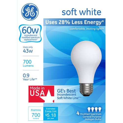 GE Energy-Efficient Soft White Halogen 43W A19, 4pk
