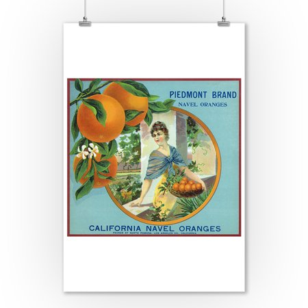 North Pomona  California   Piedmont Brand Citrus Label  9X12 Art Print  Wall Decor Travel Poster