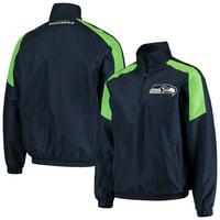 Men's G-III Sports by Carl Banks College Navy/Neon Green Seattle Seahawks Half-Zip Pullover Jacket