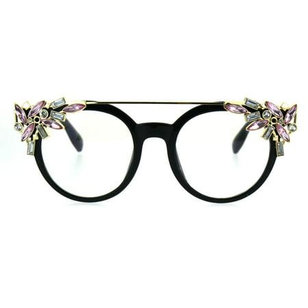 Frame Brown Lenses Rhinestones - Womens Art Deco Rhinestone Jewel Diva Clear Lens Eye Glasses Black Gold