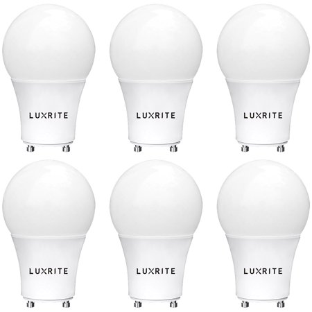 Luxrite Gu24 Led A19 Light Bulb 60w Equivalent 2700k Soft White Dimmable 800 Lumens