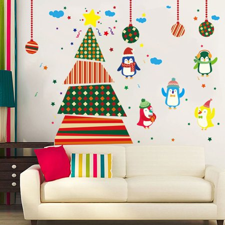 - Flying Outlets PVC Decal Removable Christmas Tree Penguins Wall Stickers for Window Glass Door Dcoration
