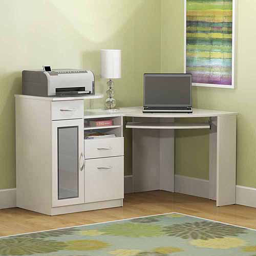 Bush Furniture Vantage Corner Desk, Pure White