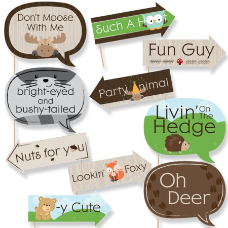 Funny Woodland Creatures - Baby Shower or Birthday Party Photo Booth Props Kit - 10 - Woodland Creature Baby Shower