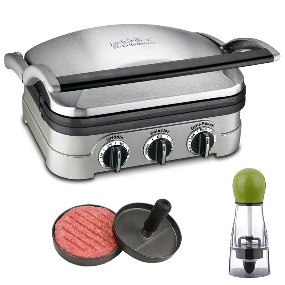 Cuisinart 5-in-1 Griddler (GR-4N) with Carteret Twist And Spice Manual Spice Mill and Carteret Professional Burger Press Patty Maker