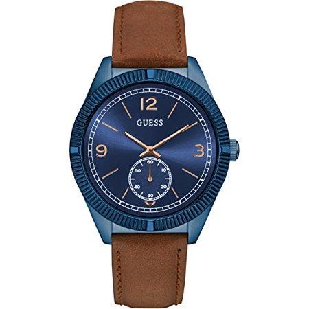 GUESS Men's Quartz Analog Blue Dial Leather Strap Watch W0873G2