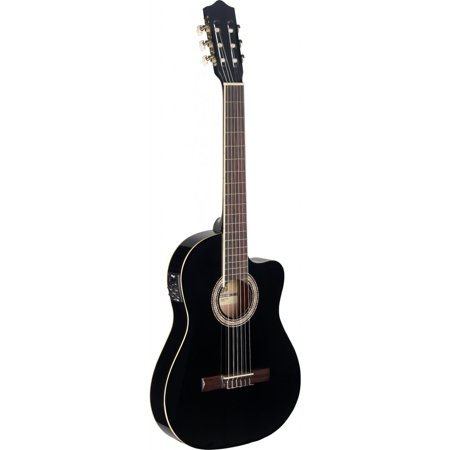Stagg C546TCE BK Thin Body Cutaway Acoustic-Electric Classical Guitar - Black