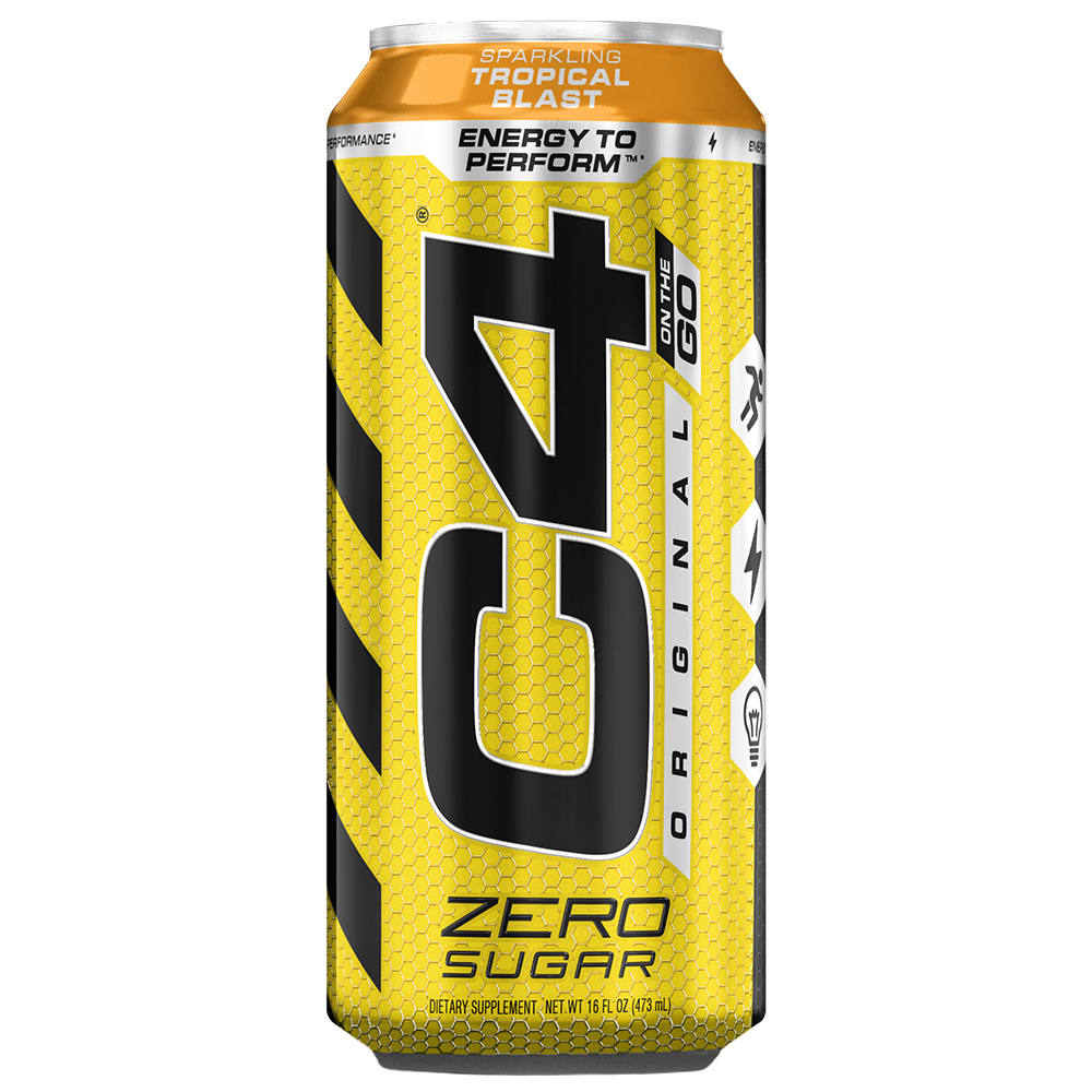 C4 Original Carbonated, Pre Workout + Energy Drink, 4-16oz Cans, Tropical Blast