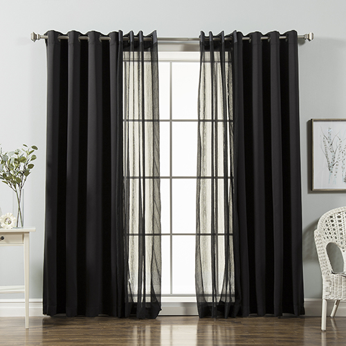 Black 84 x 52 In. Sheer and Solid Blackout Window Treatments, Set of Four