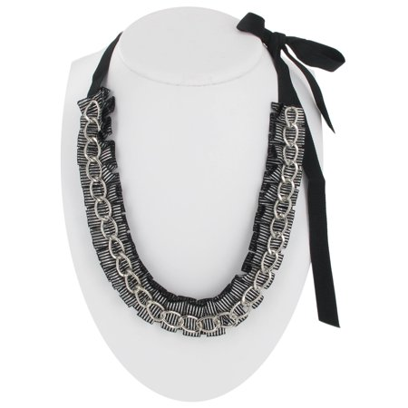 Striped Pleated Black Grosgrain Ribbon Silver Tone Chain Link Statement Necklace Stripe Chain Link
