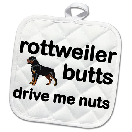 Pot Nut (3dRose Rottweiler Butts Drive Me Nuts - Pot Holder, 8 by 8-inch )